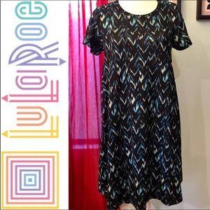 LuLaRoe Carly Dress Blue Chevron